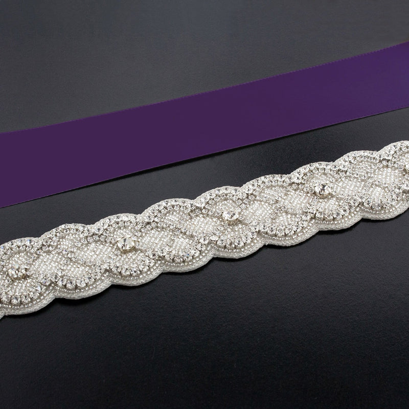 Sash with Scalloped Crystal Applique - eggplant
