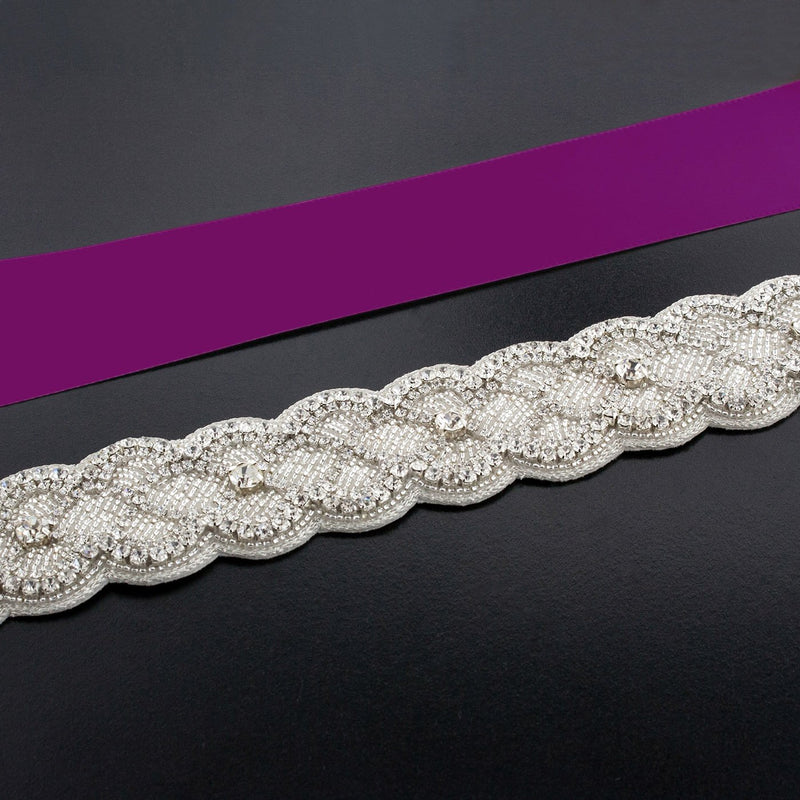 Sash with Scalloped Crystal Applique - fandango