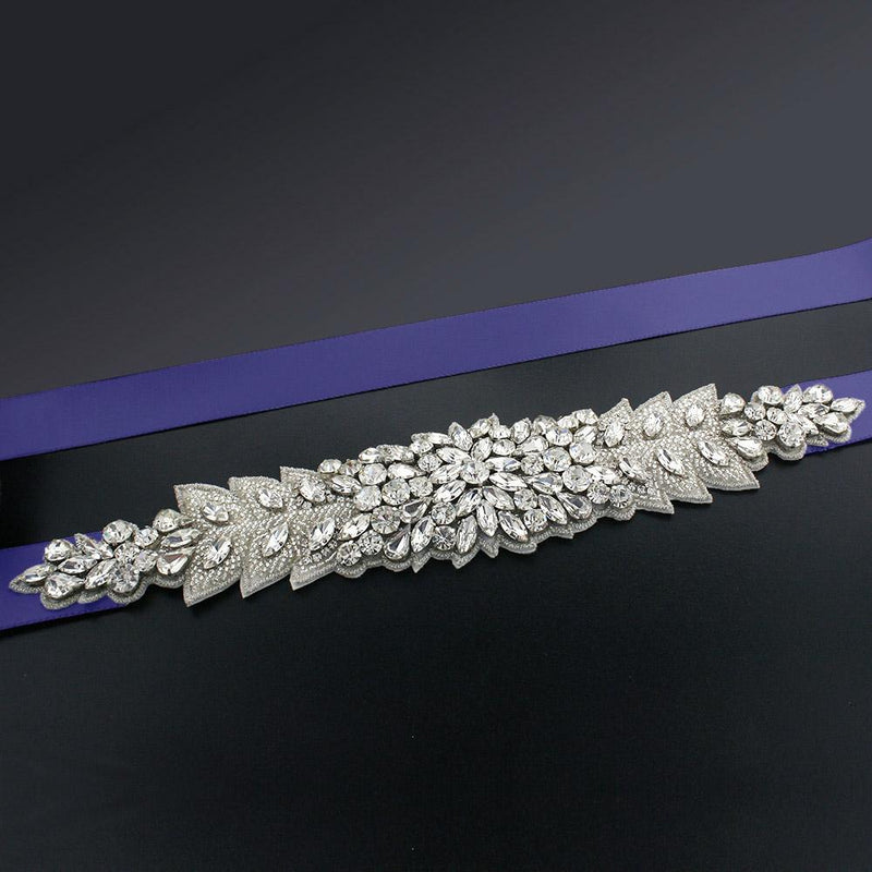 Bridal Sash with Marquise Crystal Detailing - midnight blue