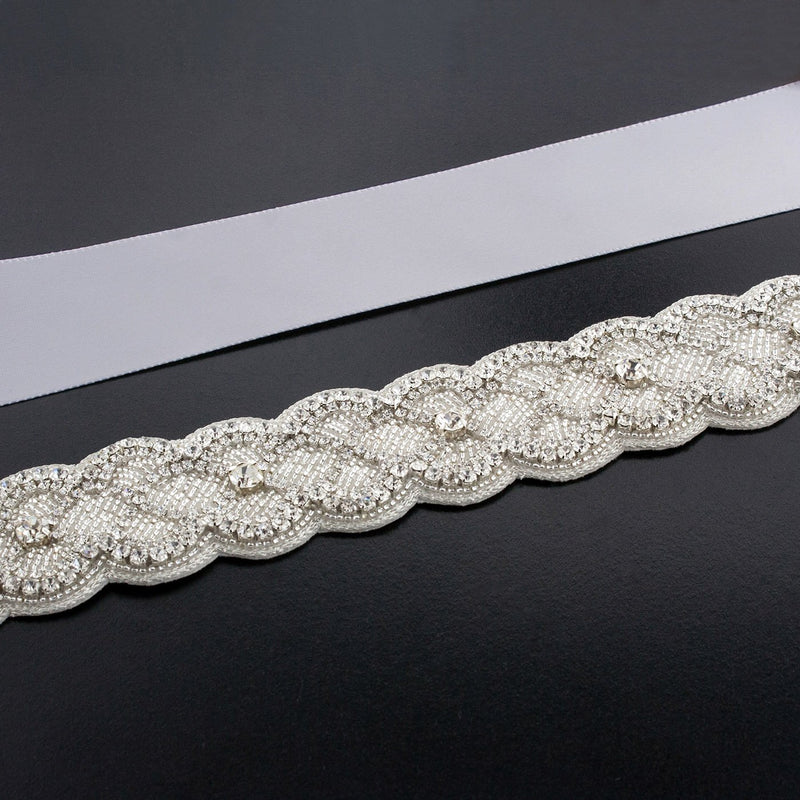 Sash with Scalloped Crystal Applique - silver gray