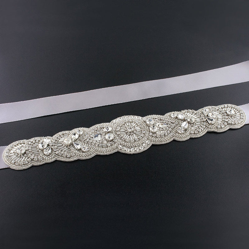 Scalloped Art Deco Bridal Sash - silver gray