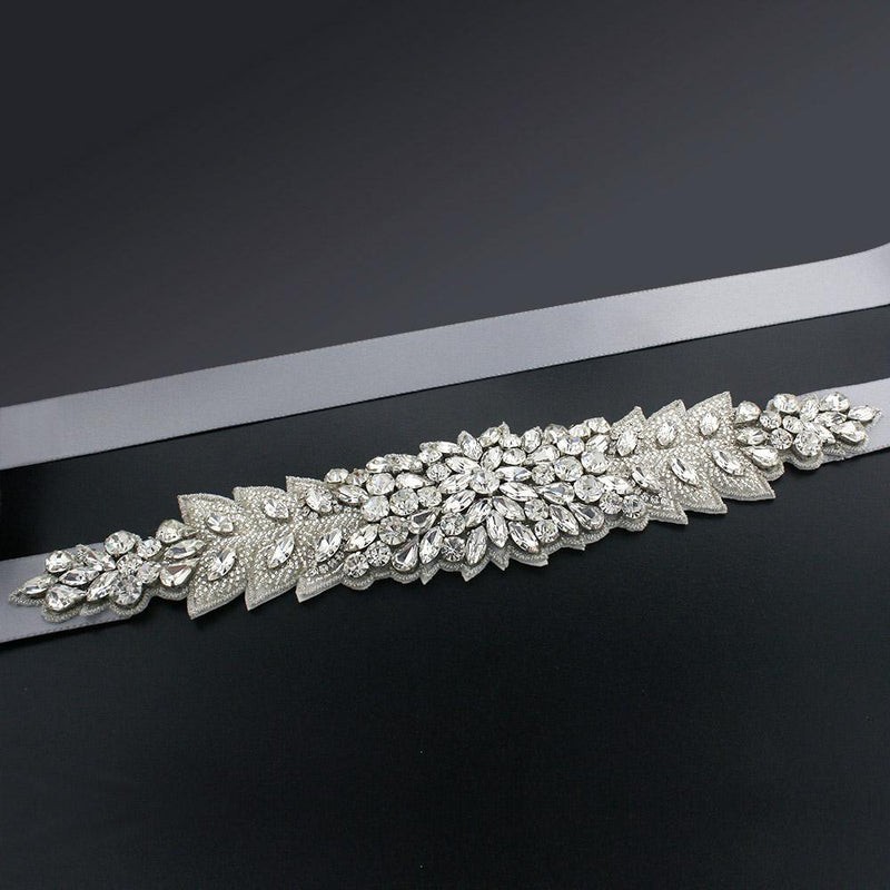 Bridal Sash with Marquise Crystal Detailing - silver gray