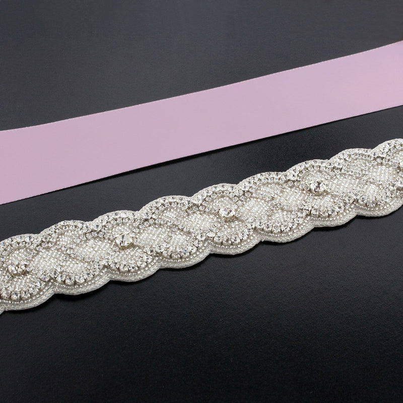 Sash with Scalloped Crystal Applique - thistle