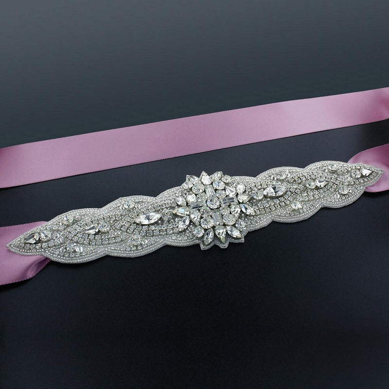 "Sash with 9"" Crystal Applique - thistle"