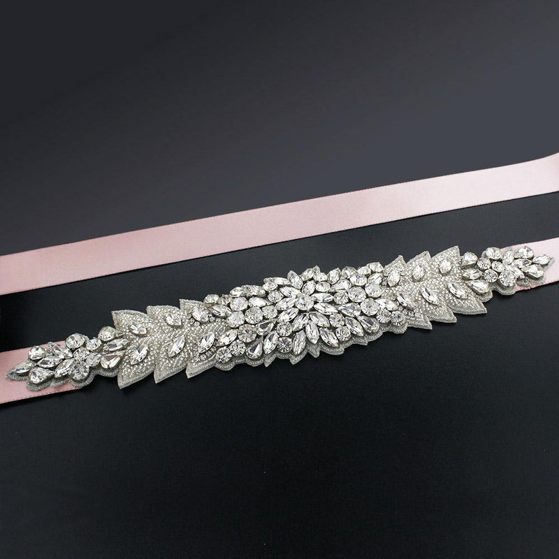 Bridal Sash with Marquise Crystal Detailing - light pink