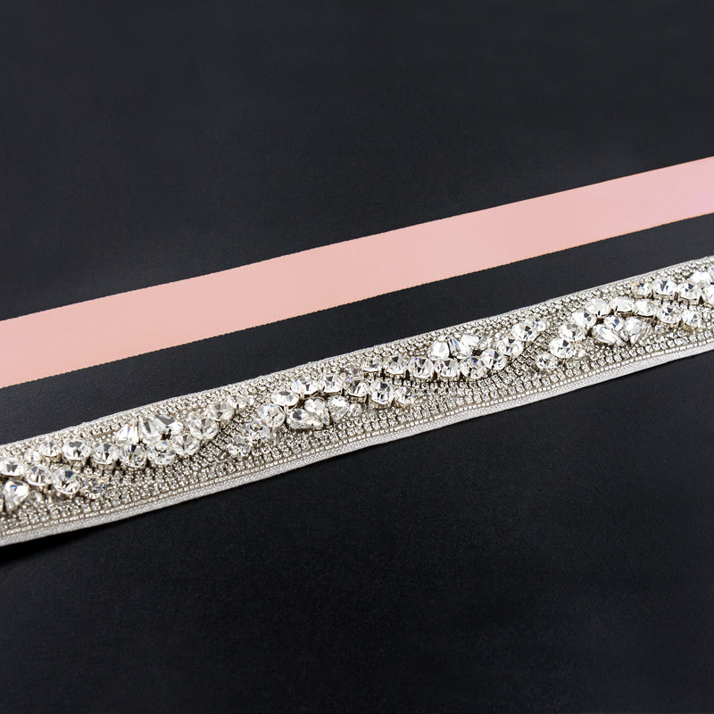 light pink rhinestone sash