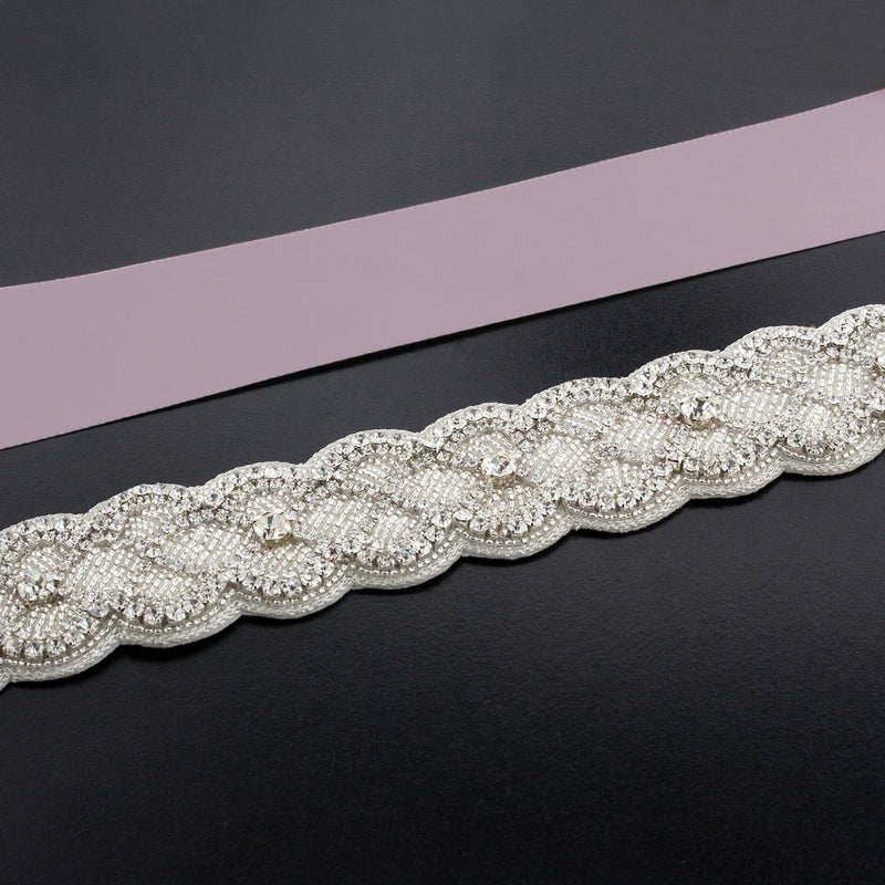 Sash with Scalloped Crystal Applique - dark lavender