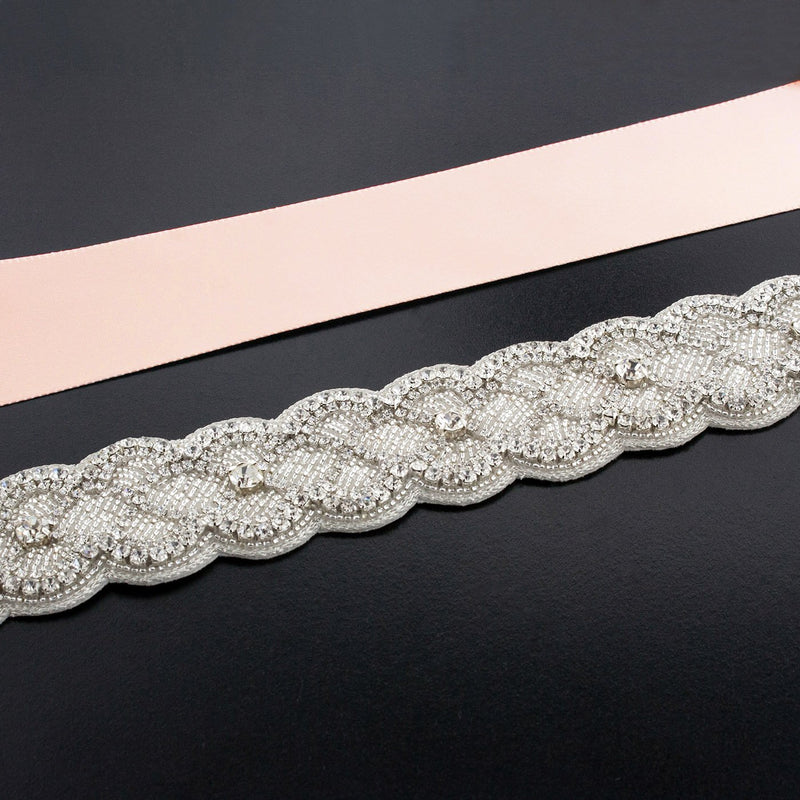 Sash with Scalloped Crystal Applique - light salmon