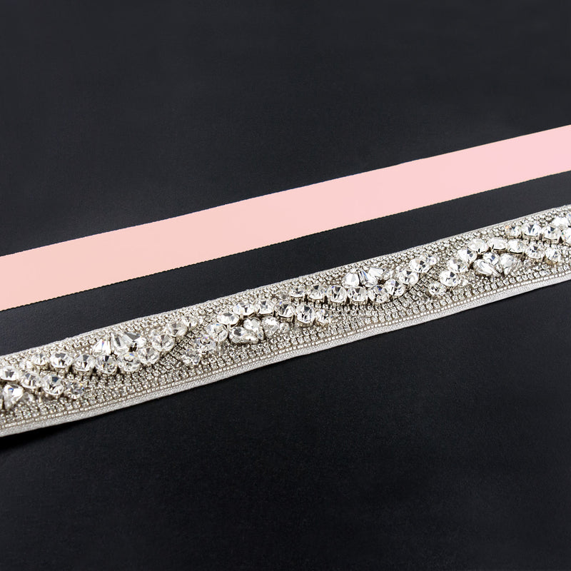 light salmon rhinestone sash