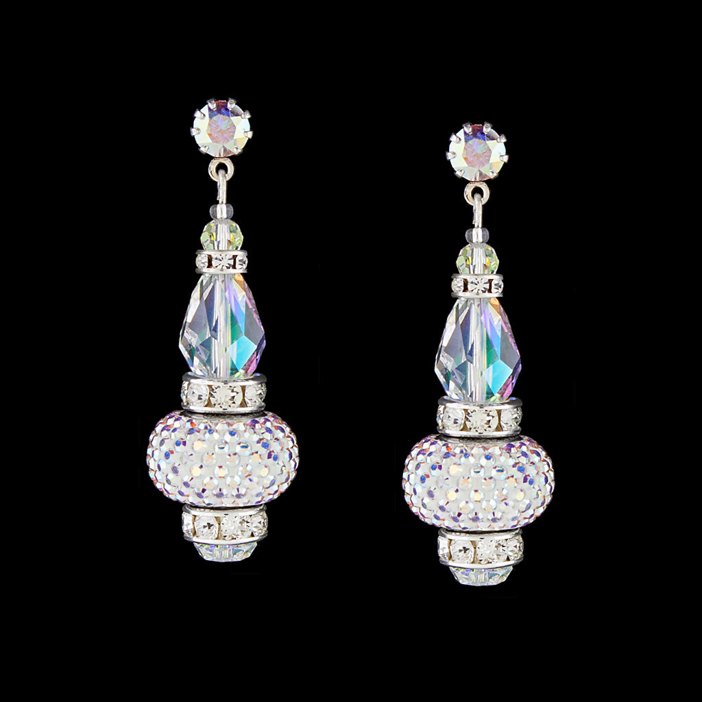 Crystal Drop Earrings with Pavé Charms - silver, iridescent