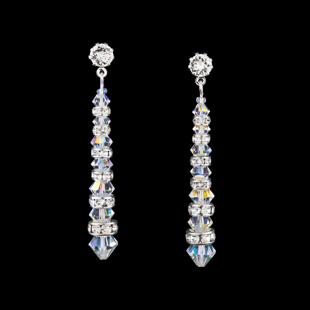 Tapered Crystal & Rondelle Earrings