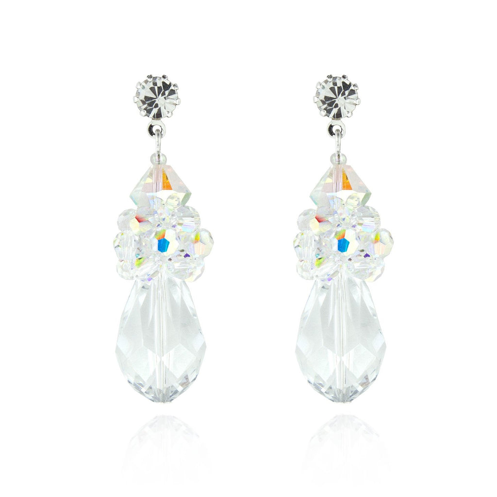 crystal cluster teardrop earrings - iridescent