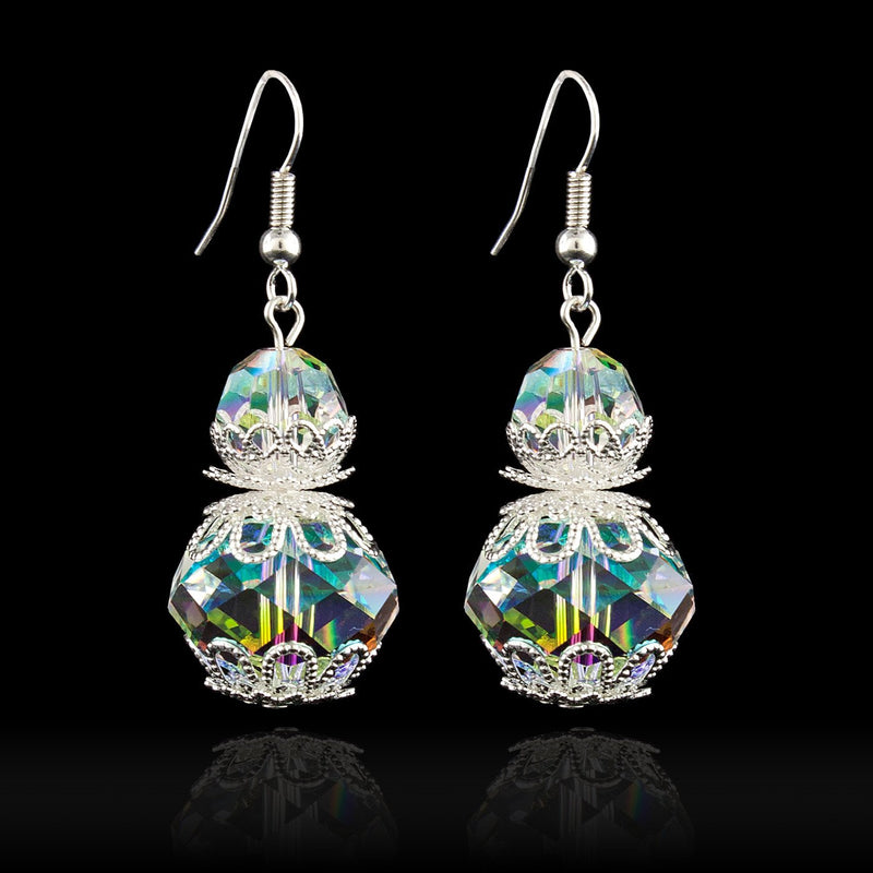 Iridescent beaded drop earrings with filigree accents