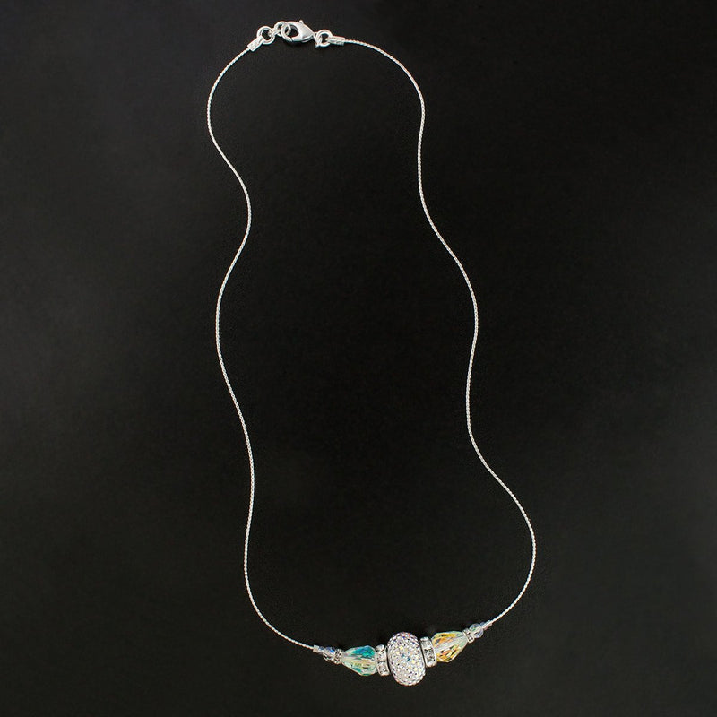 Crystal Charm & Teardrop Chain Necklace - iridescent