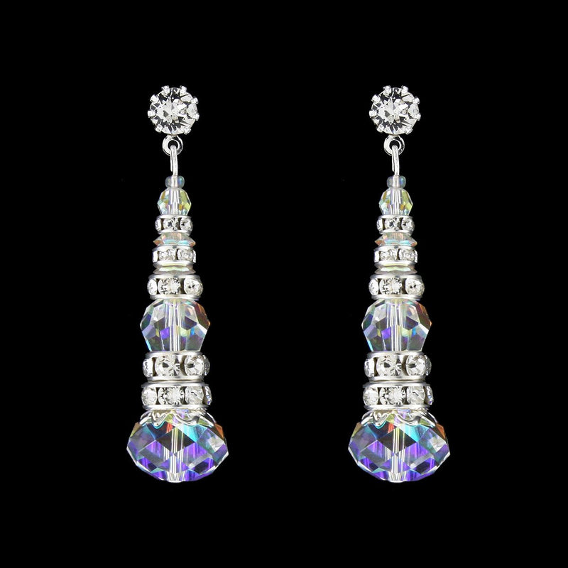 Crystal & Rondelle Beaded Drops -iridescent
