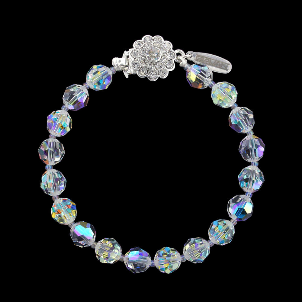 Iridescent 8mm Crystal Beaded Bracelet