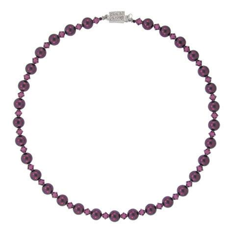Purple Crystal & Pearl Bead Necklace