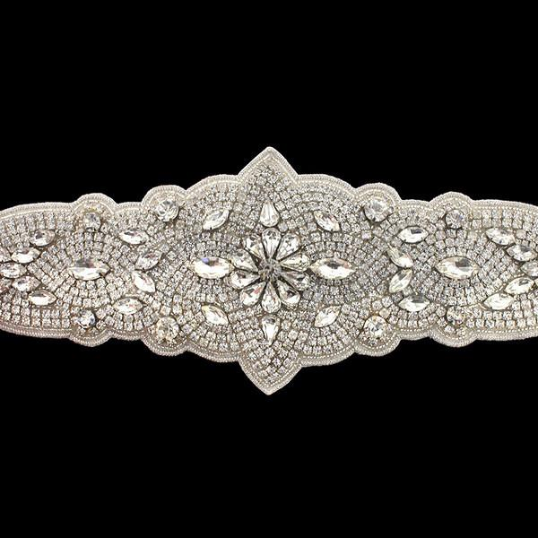 Bridal Sash with Wrap Around Crystal Applique