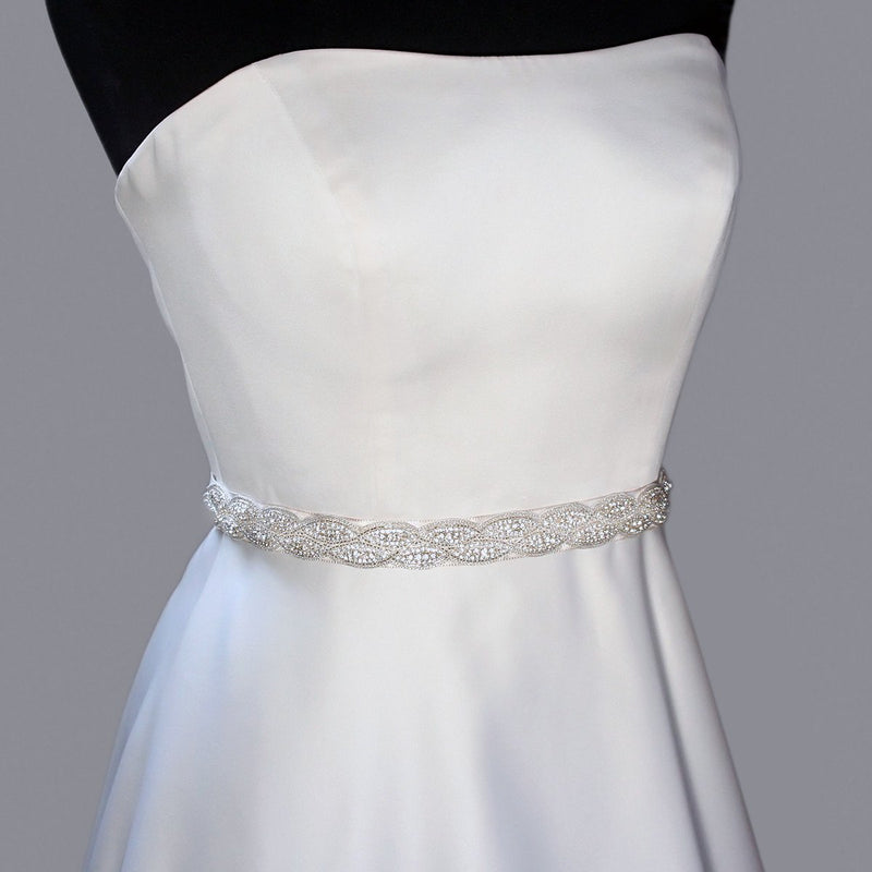 Crystal Bridal Sash with Braided Pattern