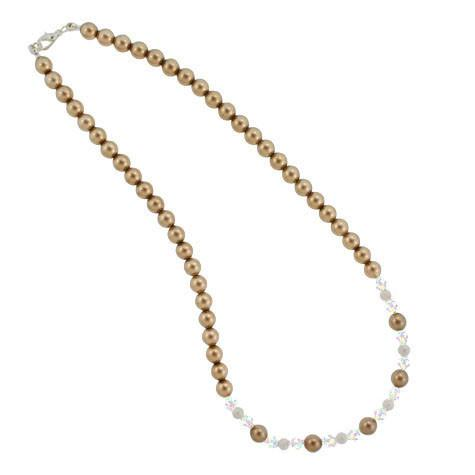 Brown Pearl & Iridescent Crystal Necklace