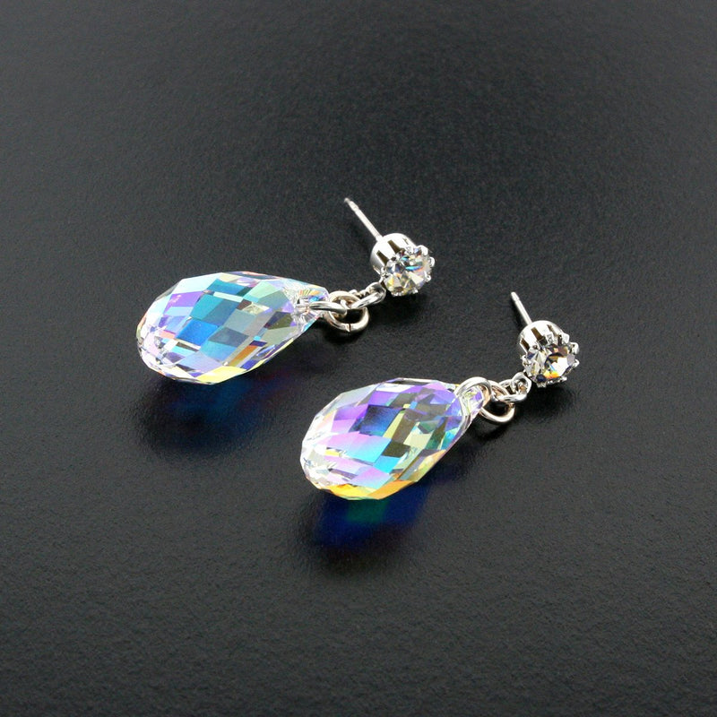 Briolette Crystal Drop Earrings - iridescent
