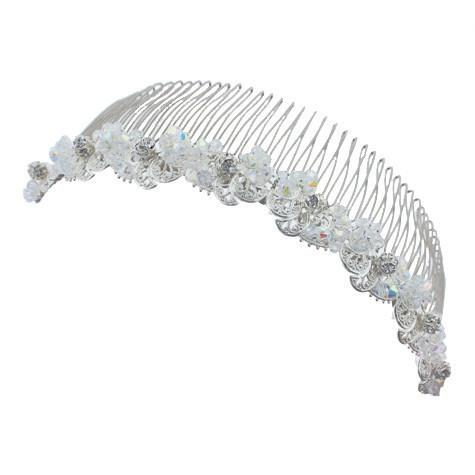 Bridal Haircomb with AB Crystal Clusters