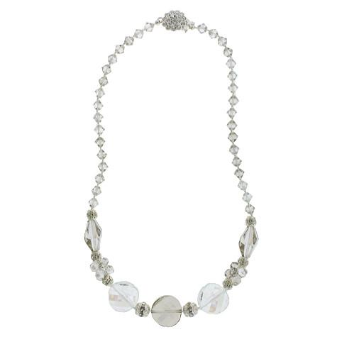 Multi-Shaped Silver and Clear Beaded Necklace
