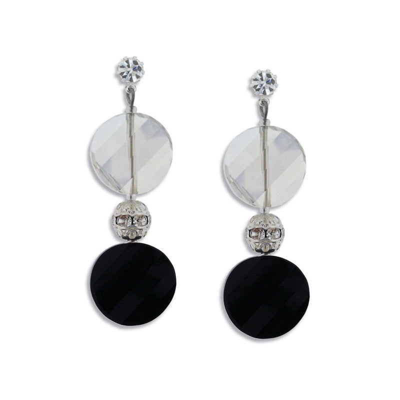 Grey & Black Crystal Disc Earrings