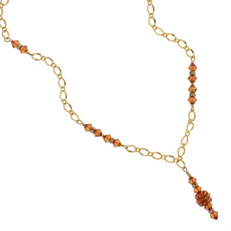 Orange Crystal Chain Necklace with Drop