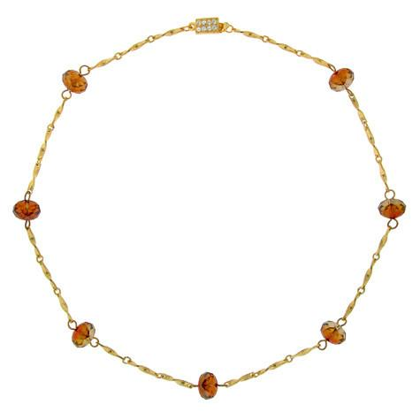 Orange Crystal Briolette Chain Necklace