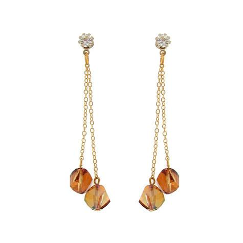 Double Drop Chain Earrings with Orange Crystals