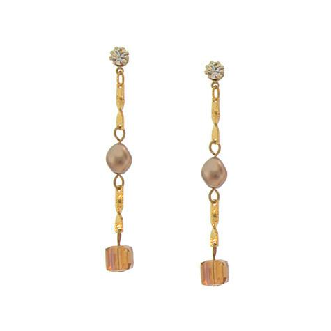 Bronze Pearl & Champagne Crystal Earrings on Chain - CH9E