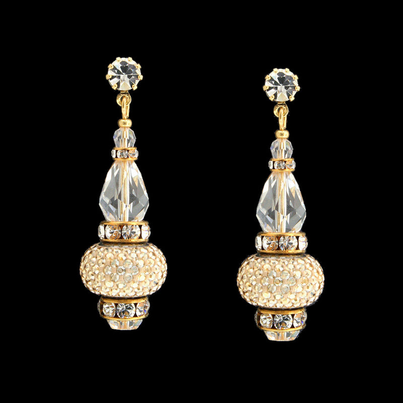 Crystal Drop Earrings with Pavé Charms - gold, clear