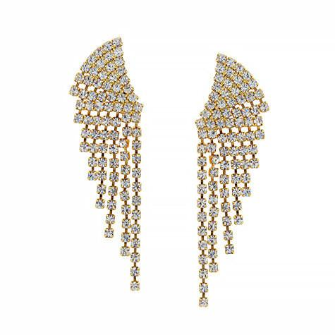 Rhinestone Earrings with Graduated Drops, Gold Plate