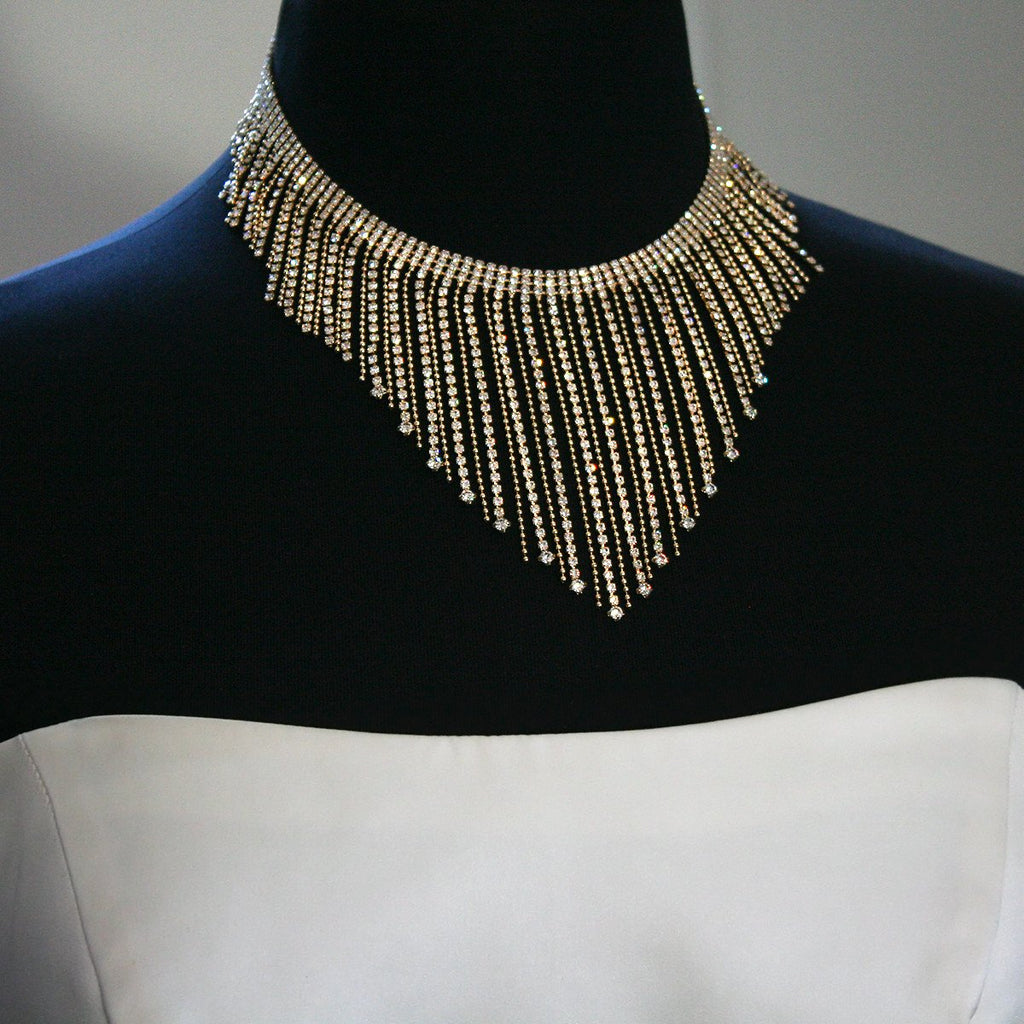 Statement Necklace with Crystal Drops