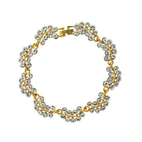Scalloped Crystal Bracelet, Gold-Plate