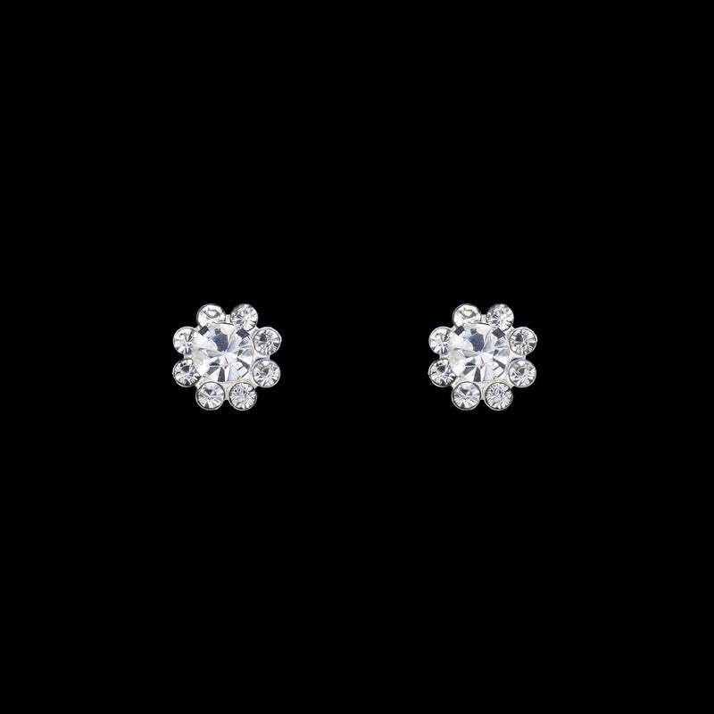 one flower rhinestone drop earrings