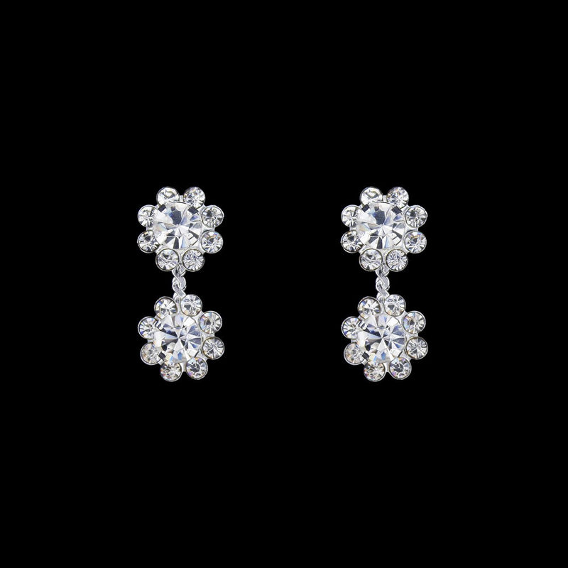 2 flower rhinestone drop earrings