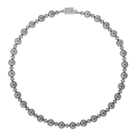 Gray Crystal & Pearl Bead Necklace