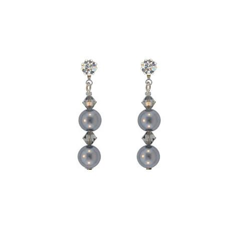 Gray Crystal & Pearl Drop Earrings