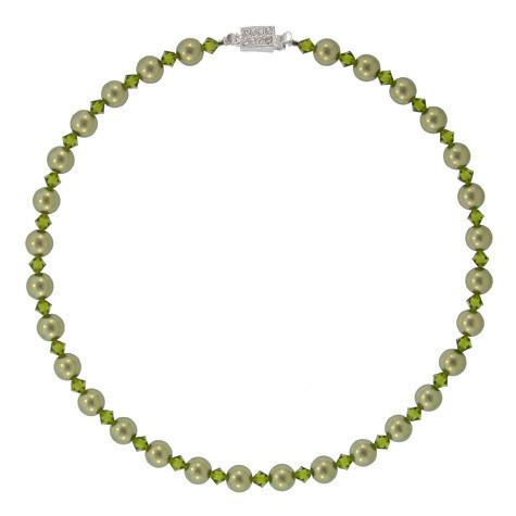 Green Crystal & Pearl Bead Necklace