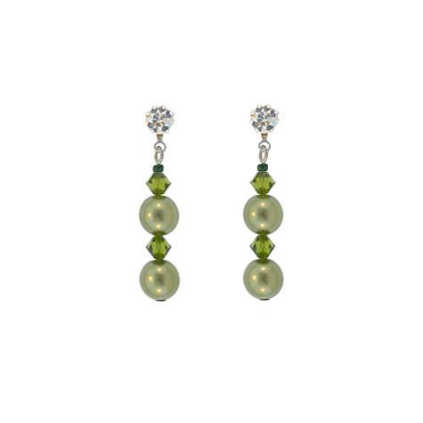 Green Crystal & Pearl Drop Earrings