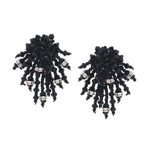 Black Crystal Woven Earrings