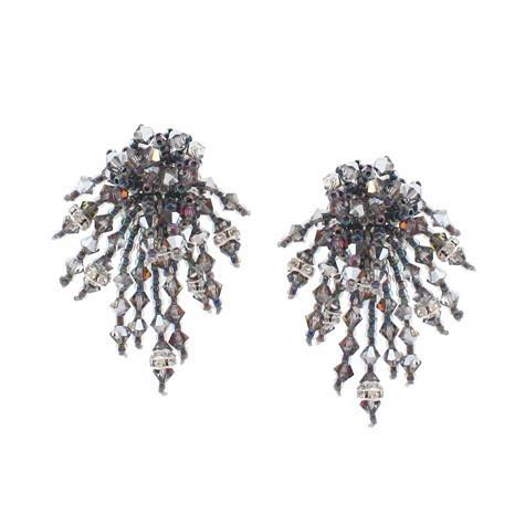 Silver Woven Earrings with Multi-Color Highlights