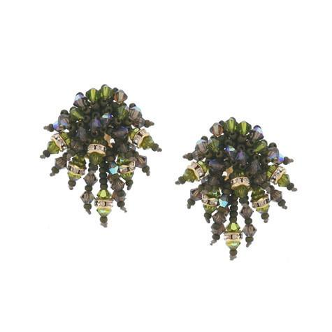 Green Crystal Beaded Earrings