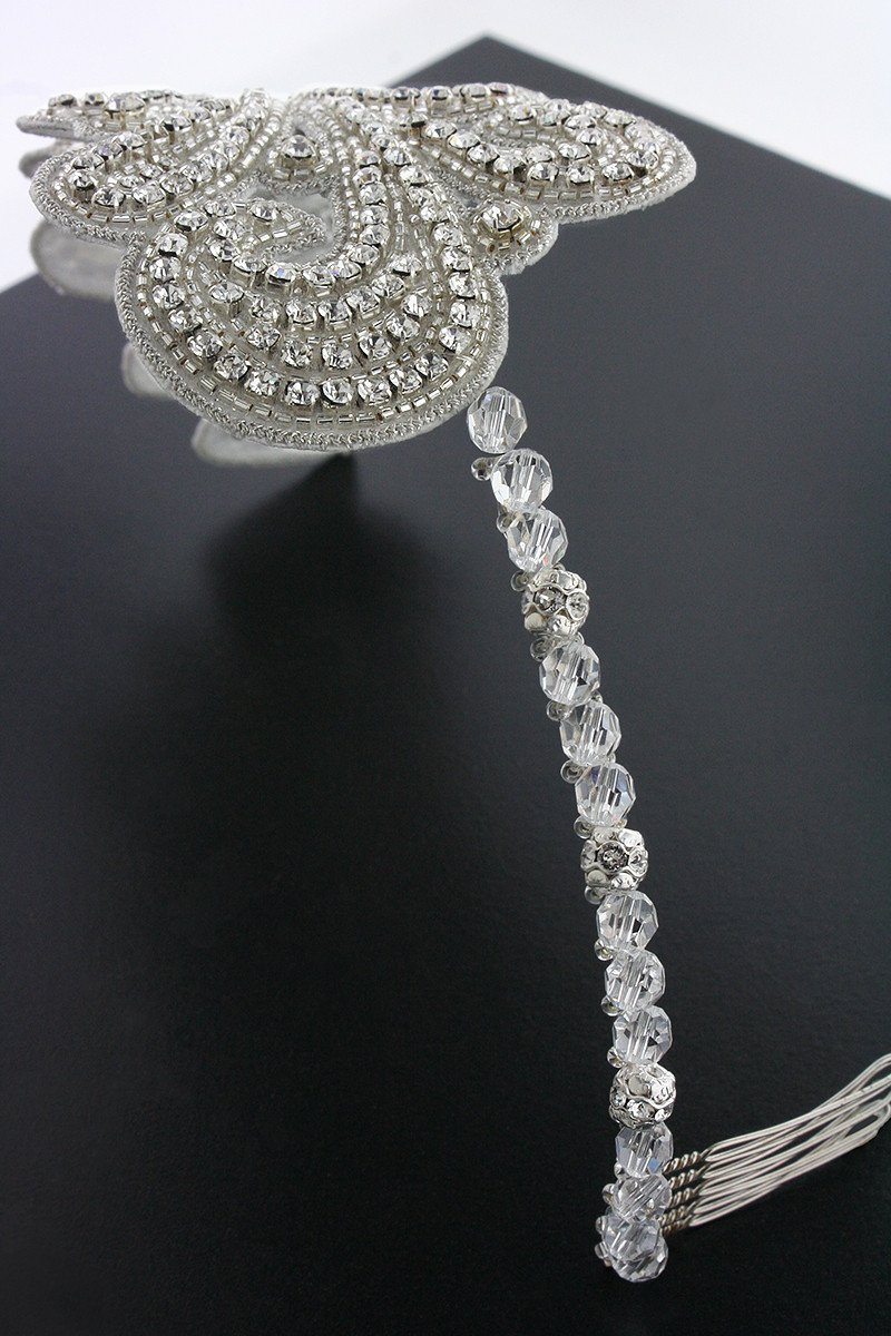 Art Nouveau Crystal Headband side view