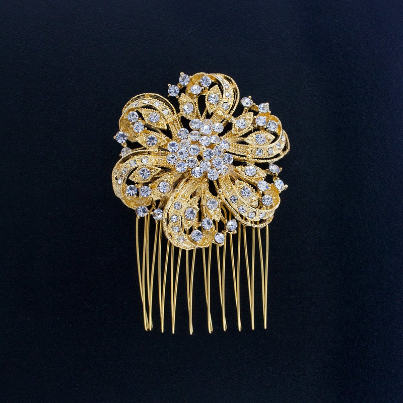 Bridal Hair Comb with Crystal Flower