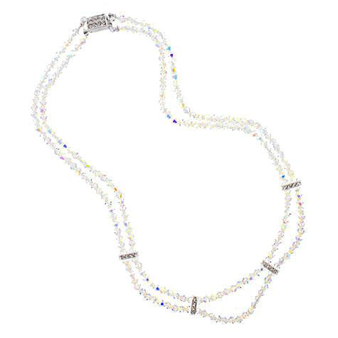 2-Row Iridescent Crystal Beaded Necklace