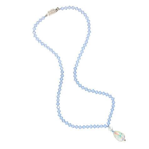 Light Sapphire Crystal Necklace with Iridescent Drop