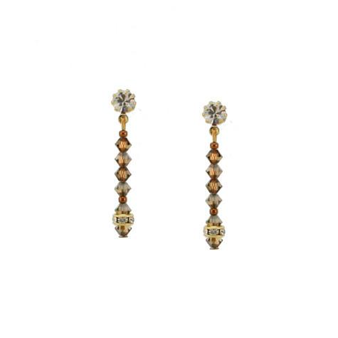 Brown Crystal Beaded Drop with Crystal Post - HOL132E